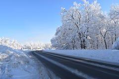 Straße durch den Wald des verschneiten Winters stockfotos