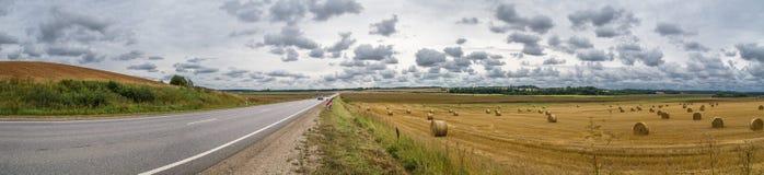 Straße durch Felder im Herbst stockfotos