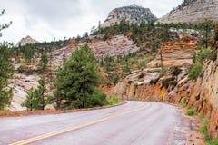 Straße durch Felsen von Zion National Park lizenzfreies stockbild