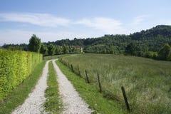 Straße durch italienische Landschaft stockfotos
