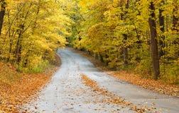 Straße durch Park im Herbst Stockfotos