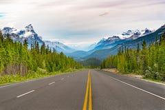 Straße entlang der Icefields-Allee stockfoto
