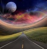 Straße führt in Abstand lizenzfreie abbildung
