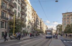 Straße in Geneve Stockfotos