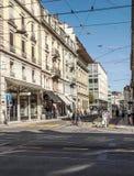 Straße in Geneve Lizenzfreies Stockbild