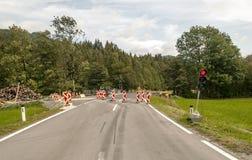 Straße geschlossen mit einem roten Licht Lizenzfreie Stockbilder