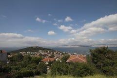 Straße in Heybeliada, Istanbul, die Türkei Leer, touristisch lizenzfreie stockfotos