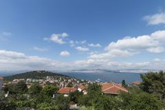 Straße in Heybeliada, Istanbul, die Türkei Leer, touristisch stockfoto
