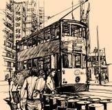 Straße in Hong Kong mit einer Straßenbahn Stockfoto