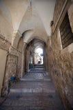 Straße im arabischen Viertel der alten Stadt von Jeru Stockbild