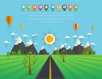 Straße im grünen Tal, in den Bergen, in den Hügeln, in den Wolken und in der Sonne auf der SK lizenzfreie abbildung