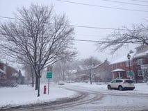 Straße im Schneesturm Stockfotografie