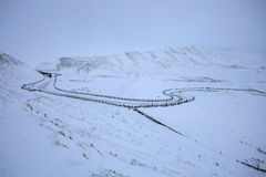 Straße im snowon ein Berg Stockfotografie