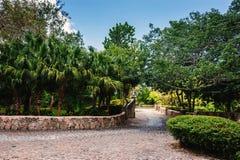 Straße im tropischen Park Altes Dorf Altde Stockbild