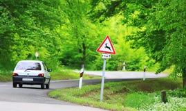 Straße im Waldweg mit Rotwild warnen roadsign Lizenzfreie Stockbilder