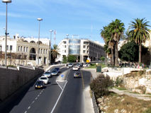Straße Jerusalems Yafo nahe Jaffa-Flugsteig 2012 Stockfotos