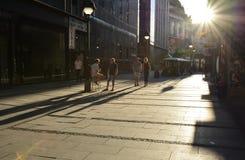 Straße Knez Mihailova in Belgrad, Serbien stockbild