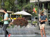 Straße Knez Mihailova ist der Hauptfußgänger und die Einkaufszone in Belgrad, Serbien lizenzfreies stockbild