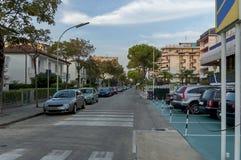 Straße Lido di Jesolo zum Seestrand, adriatisches Meer, venetianisches Riviera Lizenzfreies Stockbild