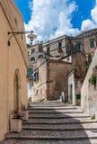 Straße in Matera, Italien - europäische Hauptstadt der Kultur im Jahre 2019 lizenzfreie stockfotos