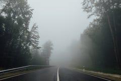 Straße mit dem Trennen des Streifens im Nebel Stockbild