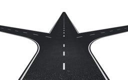 Straße mit drei Möglichkeiten Stockfotografie