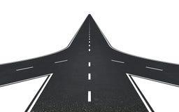 Straße mit drei Möglichkeiten Lizenzfreie Stockbilder