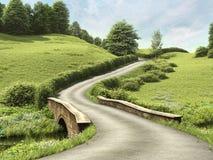Straße mit einer Brücke lizenzfreie abbildung