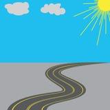 Straße mit gelber Illustration der Markierungen langfristig Stockfotos