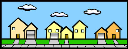 Straße mit Häusern lizenzfreie abbildung