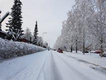 Straße mit Schnee lizenzfreie stockfotos