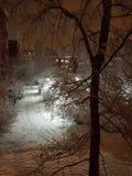 Straße mit Schnee lizenzfreies stockbild