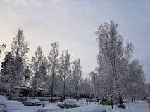 Straße mit Schnee stockbild