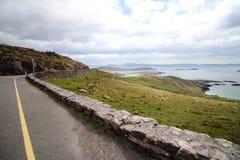 Straße mit Steinwand nahe bei der Seeküste in Irland stockfotos