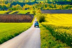 Straße mit Traktor in einer schönen Region mit Blumenwiesen und -feldern Slowakei, Mitteleuropa, Liptov Stockfotografie