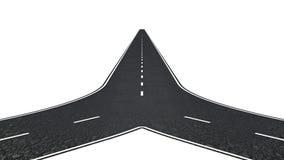 Straße mit zwei Möglichkeiten Stockfoto
