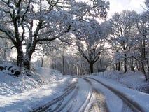 Straße nach Schneefällen stockfotos