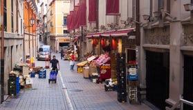 Straße nahe Markt im alten Bezirk Logrono Stockfotografie