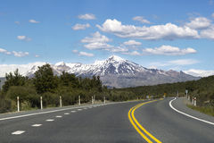 Straße in Nationalpark Tongariro, Neuseeland Lizenzfreie Stockfotos