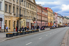 Straße Nowy Swiat in Warschau Stockbild