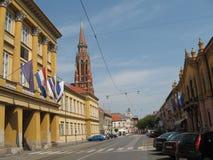Straße in osijek Stadt Lizenzfreie Stockbilder