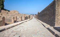 Straße in Pompeji und in Vesuv, Italien Lizenzfreie Stockfotografie