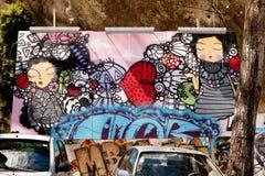 Straße Portugals, Lissabon, erstaunliche Graffiti, Straßenkunst Lizenzfreie Stockfotos