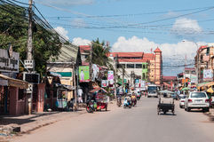 Straße in Siem Reap, Kambodscha Stockfotografie