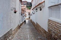 Straße in Sucre, Hauptstadt von Bolivien Stockfoto