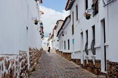 Straße in Sucre, Hauptstadt von Bolivien Lizenzfreies Stockfoto