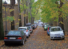 Straße in Triest, die Herbstansicht lizenzfreies stockbild