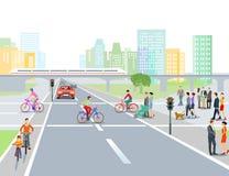 Straße und Überfahrt in der Stadt stock abbildung