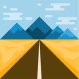 Straße und Berge Abstrakte Illustration für Gebrauch im Design fla lizenzfreie abbildung