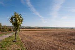 Straße und Feld auf Land, nahe kleinem Dorf im Hintergrund Stockfotografie